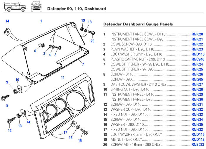 defender dashboard dash electrical gauges switches trim parts rh exmoortrimusa com