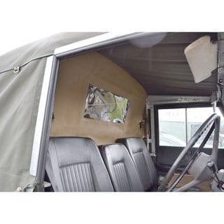 LOAD CURTAIN WITH WINDOW. SAND, FITS FULL CANVAS TOPS ONLY SERIES & DEFENDER
