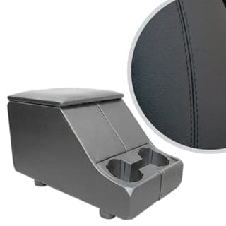 EXMOOR NON-LOCKING CUBBY BOX WITH TWIN CUP HOLDER FOR DEFENDER & SERIES - BLACK LEATHER