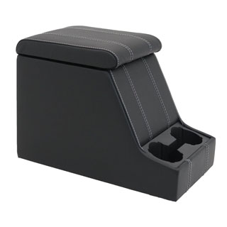 PREMIUM XL CUBBY BOX IN BLACK XS-VINYL WITH WHITE STITCHING