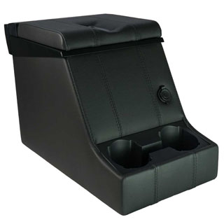 PREMIUM LOCKING CUBBY BOX -BLACK VINYL W/BLACK STITCHING