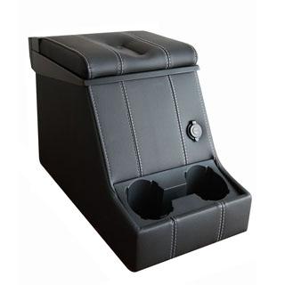 PREMIUM LOCKING CUBBY BOX -XS BLACK VINYL w/WHITE STITCHING