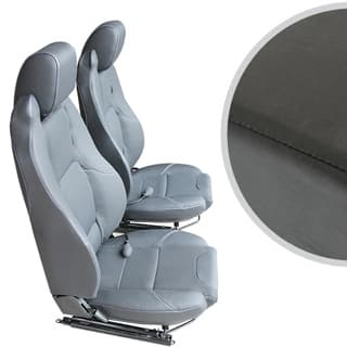 EXMOOR TRIM MK-II ELITE SEATS (PAIR) WITH HEATERS AND LUMBAR SUPPORTS FOR DEFENDER - BLACK VINYL