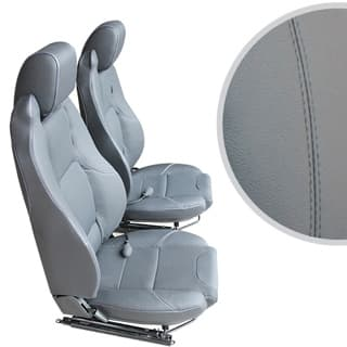 EXMOOR TRIM MK-II ELITE SEATS (PAIR) WITH HEATERS AND LUMBAR SUPPORTS FOR DEFENDER - GREY LEATHER