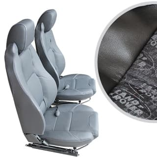 EXMOOR TRIM MK-II ELITE SEATS (PAIR) WITH HEATERS AND LUMBAR SUPPORTS FOR DEFENDER - LAND ROVER LOGO BLACK