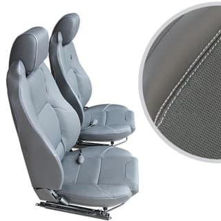 EXMOOR TRIM MK-II ELITE SEATS (PAIR) WITH HEATERS AND LUMBAR SUPPORTS FOR DEFENDER - XS BLACK RACK HALF-LEATHER