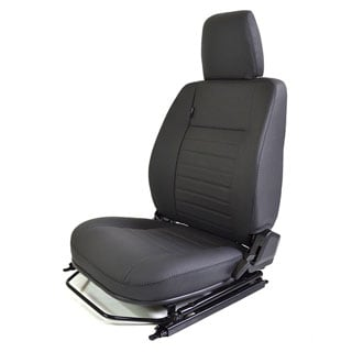 FRONT DEFENDER SEAT ASSEMBLY WITH ADJUSTABLE FRAME - RIGHT HAND - BLACK LEATHER