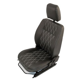 FRONT SEAT DEFENDER  LEFT FRONT IN DIAMOND PATTERN BLACK WITH WHITE STITCHING